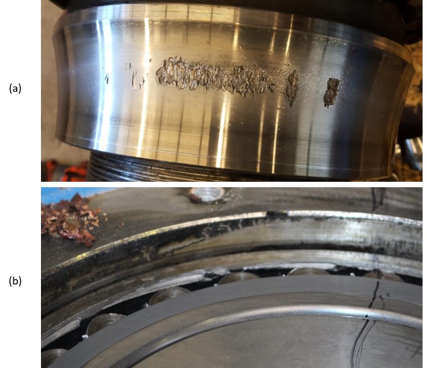 Examples of early and late stage bearing damages.