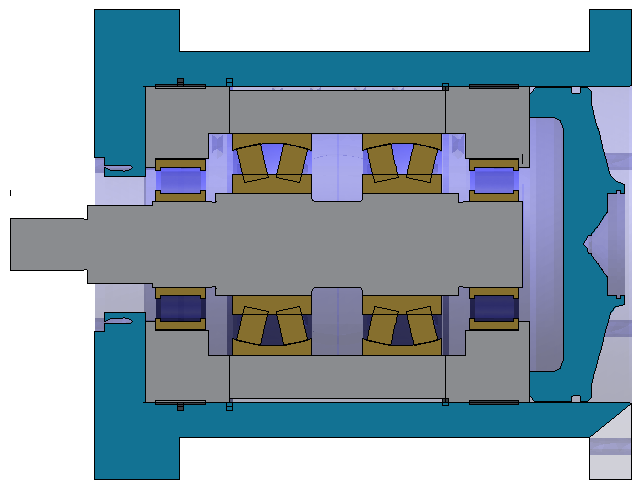Figure 2: Setup in Workbench including the test rig housing, tooling, and bearings. Shaft bending depends on the arrangement of the bearings and the diameters of the shaft.